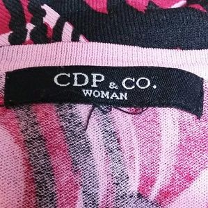 CDP & CO Tops - CDP & CO. Knit Top Pink Black Swirls with Sequins